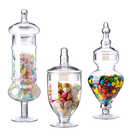 Diamond Star Set of 3 Apothecary Jar Clear Glass Wide Mouth Storage Candy Jar Decorative Candy Buffet Jars Elegant Kitchen Containers