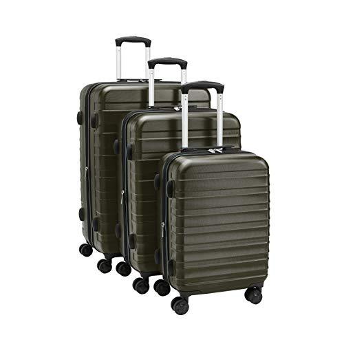 Amazon Basics - Juego de maletas rígidas de primera calidad: 56 cm, 68 cm y 78 cm, color verde