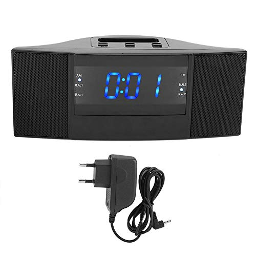 Natruss Reloj Despertador Digital, función de Radio Reloj Despertador, Enchufe de la UE, Radio FM Am automática de 220 V, para el hogar, Dormitorio, Hotel, niños
