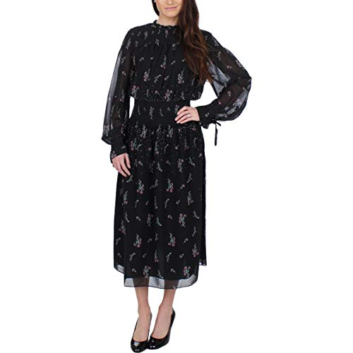 Juicy Couture Womens Falling Bouquets Smocked Midi Dress