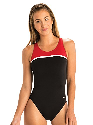 Dolfin Ocean Women's Swimsuit Panel HP Back Swimwear (34, Black/Red)