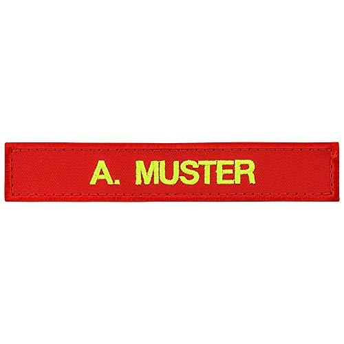 PACOTEX Namensschild bestickt mit eigenem Namen personalisiert Stickschild in vielen Größen und Farben mit Klett (120x25mm, rot)