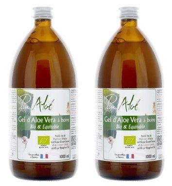 Gel di aloe vera da bere, biologico, puro, 1000ml - Confezione da 2