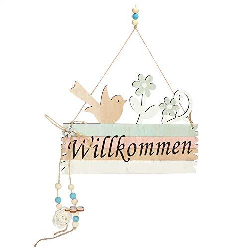 com-four® Türschild Willkommen - Deko-Schild Frühling aus Holz mit Kordel zum Aufhängen - Oster-Deko Schild für die Haustür (01 Stück 22x16cm)