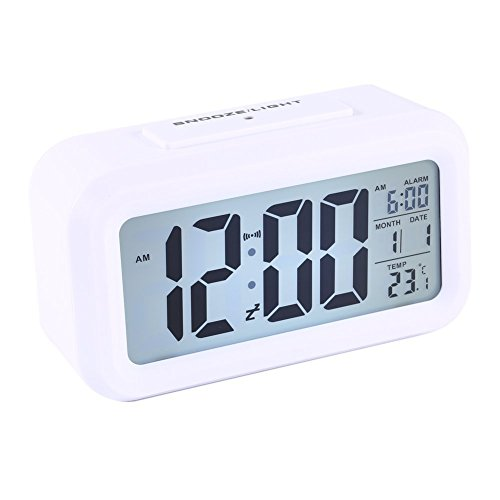 ZJchao Reloj LED Digital Alarma Despertador Dormido activada Sensor de luz registra Tiempo Fecha Temperatura (Blanco)