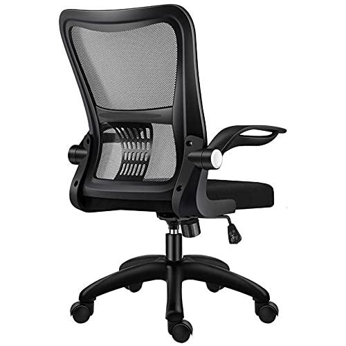 Silla de computadora de malla ergonómica ajustable, silla de oficina con función de inclinación, cómoda silla de malla acolchada para escritorio en casa, reposabrazos ajustables, color negro _2