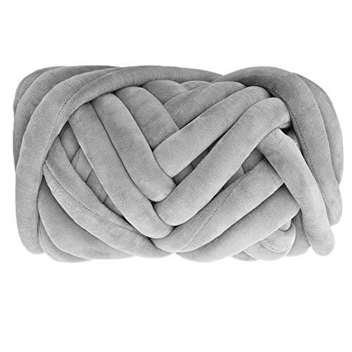 Arm Knitting Yarn, Hand Knitting, Velvet Arm Knit Yarn, Jumbo Yarn, Cotton Tube Velvet Yarn Super Soft Washable Bulky Giant Yarn for Extreme Arm Knitting DIY (Grey, 1.3 lbs / 23 Yards)