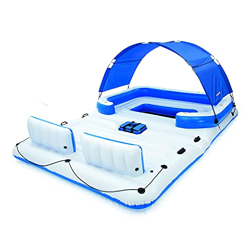 Bestway Hydro Force Tropical Breeze Floating Island Raft   Giant Inflatable Pool Float for Adults   Includes Canopy, Cupholders, & Cooler Bag   Lounge Fits Up to 6 People   Great for Pool, Lake, River