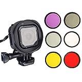 Accesorios para lentes de teléfono / 6 en 1 58mm Filtro ND2 lente de filtro + UV lentes de filtro + Red + FLD Filtro + Filtro Yellow + Filtro CPL + Filtro anillo adaptador Kitt for GoPro HERO5 Sesión