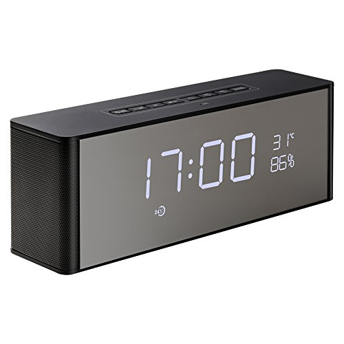 Abuzhen Wireless Speaker, Alarm Clock, Digital FM Radio, 3.5mm Aux Line-in TF Card Play, Thermometer, Large Mirror LED Dimmable Display for Hotel,Home,Office,Bedroom,Travel