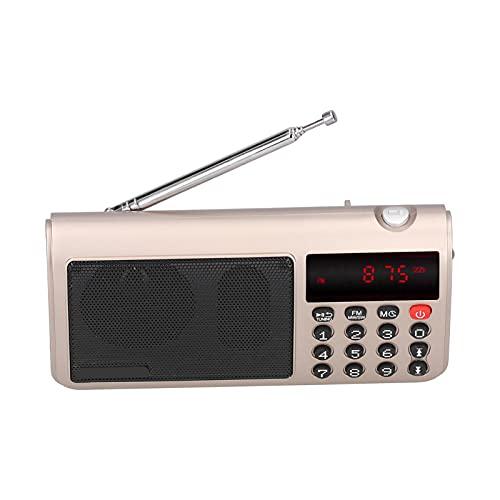 Altavoz de radio, mini reproductor de música MP3 portátil FM / AM / SW con pantalla LED y linterna, para caminantes mayores, excursionistas, campistas, mochileros, para deportes al aire libre(oro)
