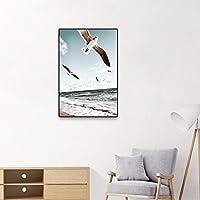 キャンバスポスター広大な海の波ビーチの森に撒かれた山の夕日風景画プリント壁の絵部屋家の装飾80X120CMフレームレス
