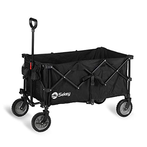 Sekey Faltbarer Bollerwagen mit Bremsen, tragbarer Strandwagen Außenwagen Faltwagen, Trolley Outdoor Folding Wagon, Schwarz…