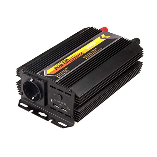 GQFGYYL 600W Modified Sine Wave Power Inverter, DC 12V to 220V Inverter with 2 USB Charging Ports, Power Converter with Outlets Battery Clip Charger, Car Adapter