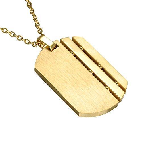PAURO Herren Edelstahl Matt Gebürstet Gold Military Army Dog Tag Anhänger Charm Halskette