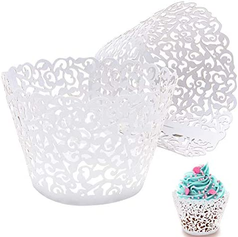 50pcs white Cupcake Wrappers Lace Cupcake Liners Laser Cut Cupcake Papers Cupcake Cups Cases product image