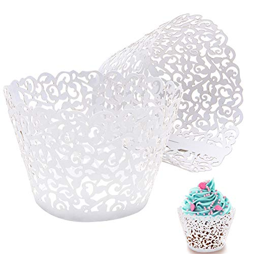 50pcs white Cupcake Wrappers Lace Cupcake Liners Laser Cut Cupcake Papers Cupcake Cups Cases for Wedding/Birthday Party Decoration