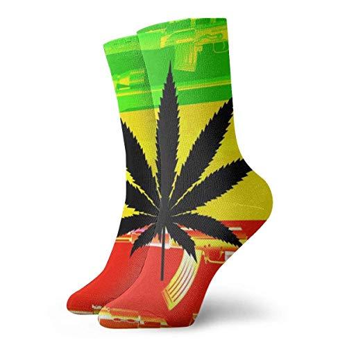 QUEMIN Calcetines cortos para adultos con bandera jamaicana, calcetines deportivos de algodn, 30 cm, de punto plano, calcetines deportivos casuales deportivos diarios