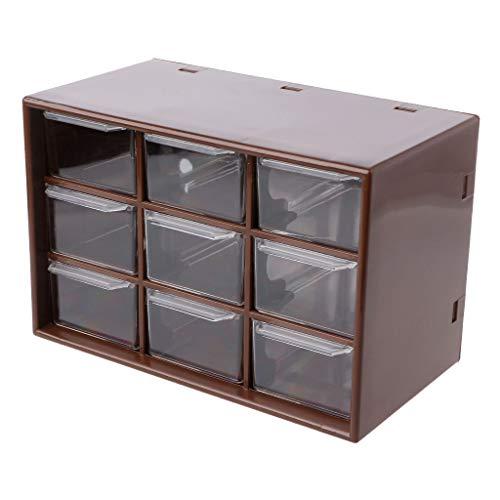 siwetg Organizzatore per gioielli con 9 cassetti, in plastica, scatola per trucchi, da scrivania