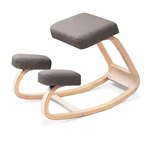 H&RB Ergonomica Sedia ergonomica, Indietro correzione della Postura Sgabello di Legno per L'Ufficio e la casa, a Dondolo Kneel Seduta con Cuscini ortopedici Soft Knee,Grigio