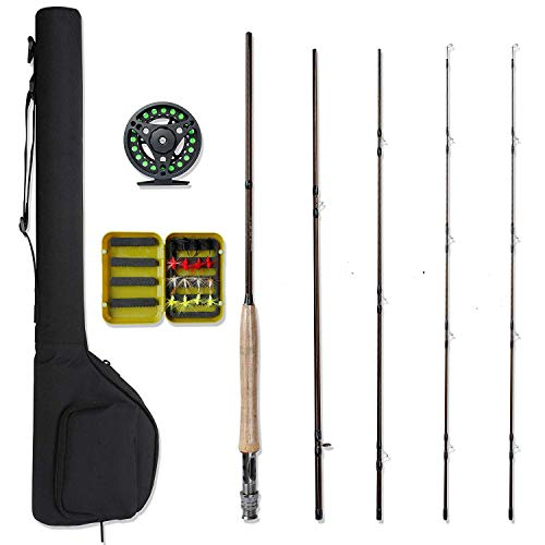 NetAngler Fly Fishing Rod and Reel Combo, Lightweight Portable Fly Rod, Aluminum Alloy Fly Reel with Pre-Loaded Lines, 1pc Extra Rod Tip Especially for Starter