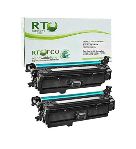 Renewable Toner Compatible Toner Cartridge High Yield Replacement for HP 507X CE400X for use in Laserjet M551 M575 M570 (Black, 2-Pack)
