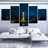GUANGWEI Impresión En Lienzo Póster HD 5 Combinación De Pintura Colgante Vista Nocturna De La Ciudad De Londres Marco De Dibujo Decorativo del Paisaje del Regalo del Arte De La Pared del Hogar