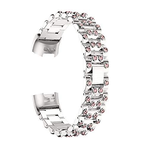 Correas De Reloj De Diamantes De Imitación Compatible con Charge 3 / Charge 4, Pulsera De Repuesto Correa De Metal Bandas De Acero Inoxidable Band con Purpurina Joyas Compatible con Charge 3/4,F