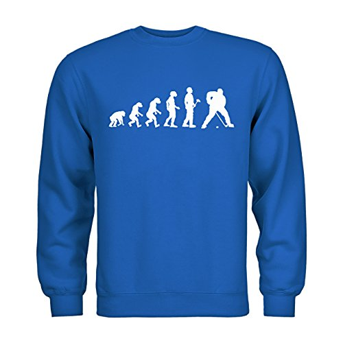 MDMA Kids Kinder Sweatshirt Evolutionstheorie Eishockey N14-mdma-ks00369-204 Textil Royalblue/Motiv Weiss Gr. 134/146