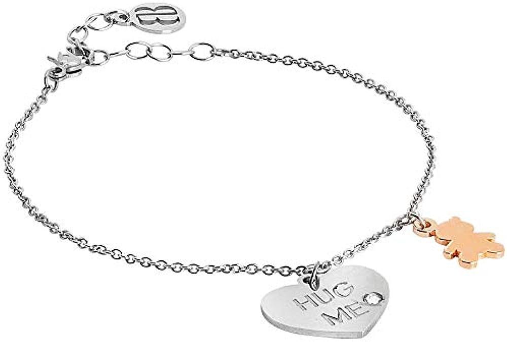 Boccadamo, bracciale per donna,bracciale in acciaio rodiato,con pendente centrale a forma di cuore Pi/Br46
