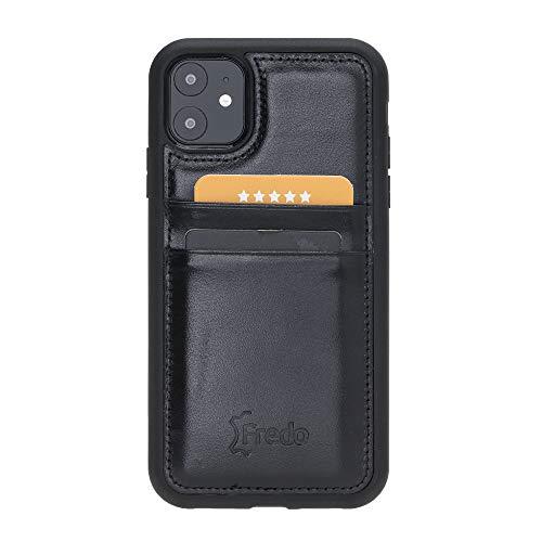 FREDO Funda de piel compatible con iPhone 11 de 6,1 pulgadas, Reflex, ultrafina, con 2 ranuras para tarjetas, para Apple iPhone 11, hecha a mano, color negro