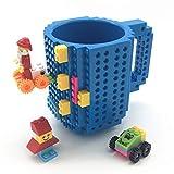 VANUODA Build on Brick Tasse, Building Blocks Mug Puzzle Becher, Weihnachtengeschenk Idee, Geschenke Männer Kinder Mama Papa (Blau)