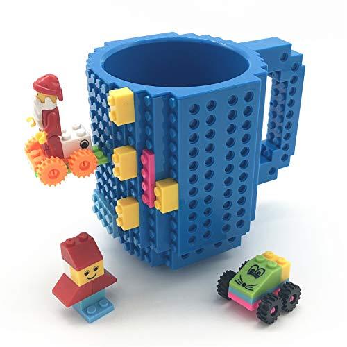 VANUODA Build-on Brick Mug, Costruire sul Mattone Tazza di caffè, Tazza Regalo per Uomini Ragazzo, Perfetto per Il Regalo di Pasqua (Blu)
