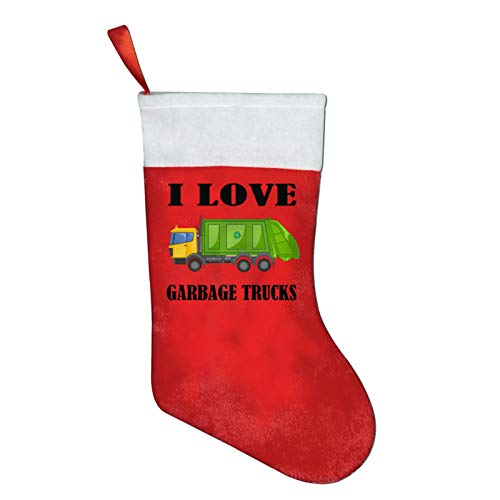 I Love Garbage Trucks Christmas Stockings Xmas Gift 16.5' Christmas Socks Santa Christmas Tree Hanging Ornament Fireplace Xmas Tree Holiday Party Decoration Gifts