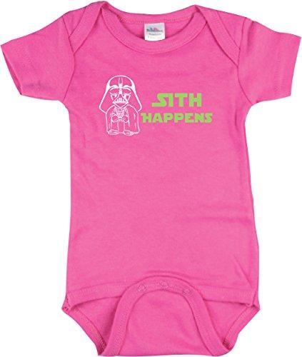 Girls Star Wars Bodysuit, Sith Happens Shirt, Star Wars Inspired, Pink 3-6 mo