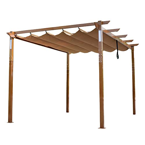 ALEKO PERG10X13LSD Aluminum Outdoor Retractable Pergola with Solar Powered LED Lamps and Wooden Finish - 13 x 10 Ft - Sand