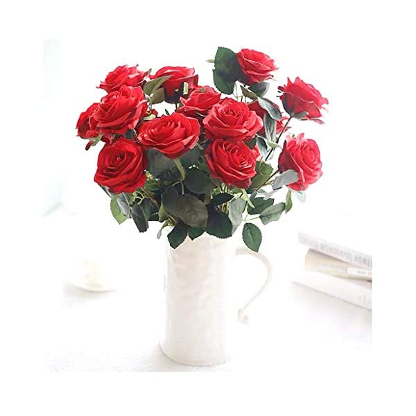 Jasion Artificial Roses Flowers 10 Heads Arrangement Silk Bouquet Glorious Moral for Home Office Parties and Wedding Decoration (Red)