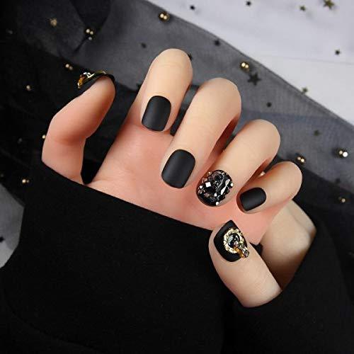 chenche Nagelaufkleber für Mädchen 24 Stück/Schachtel vollflächiges kurzes schwarzes Mattes falsches Nagelunterdrückungsdesign mit entfernbarem falschem Nailart-Aufnäher