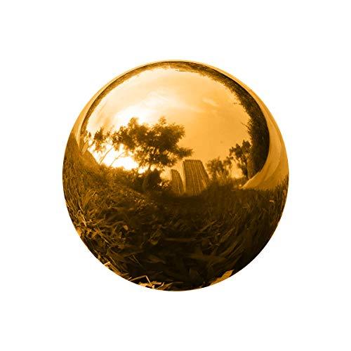 GDglobal Edelstahl Gartenkugel, Goldener Hohlkugel, Spiegelpoliert Reflektierende Gazing Ball, Schwimmende Teichkugeln Spiegelkugel Dekokugel für Hausgarten Ornament Dekorationen (Ø 15cm)