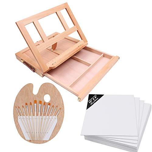 Tischstaffelei und Leinwand Set (26 teilig) - Kleine Holz Staffelei (33x25.5x5cm), Künstlerbedarf mit 12 Malpinsel, 12 Mal Leinwände, 1 Mischpalette - Vollkommenes Hobby Kunst Set für Kinder, Anfänger