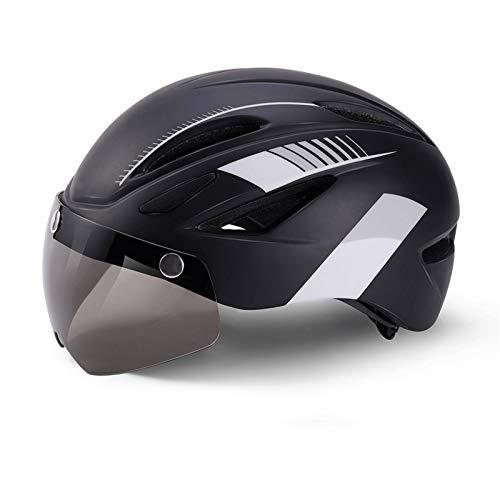 ZCR Casco de Bicicleta con USB Desmontable Luz magnética Gafas de Carretera y Bicicletas de montaña Ciclismo Cascos Tamaño Ajustable for Adultos Hombres/Mujeres (Color : C, Size : 57~62cm)