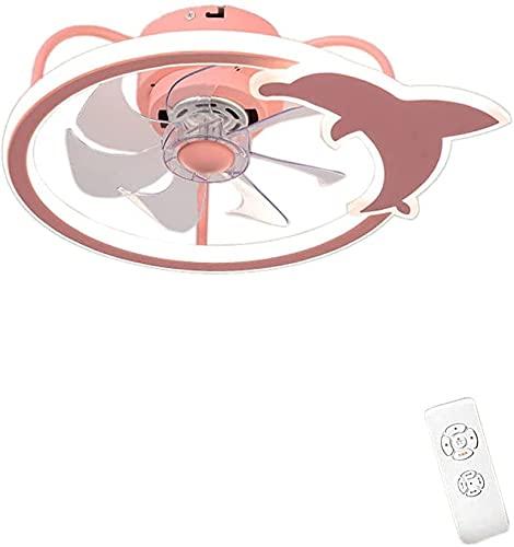 HTZ Luz del Techo de la Sala de niños con Ventilador silencioso, Ventiladores de Techo con iluminación con Control Remoto, 7 Cuchillas de Ventilador Hechas de ABS LED 80W (Oro) LJMYQL (Color : Pink)