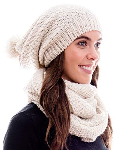 Hilltop Winter Kombi Set aus Winter Schal und passender Strickmütze/Beanie mit Pompon/versch. Designs, Winter Set:Creme