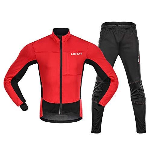 Fietskleding voor heren, waterdicht, winddicht, thermo-fleece, fietsjack en broek