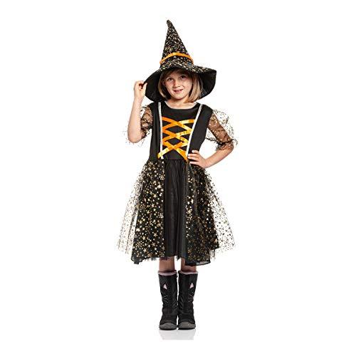 Kostümplanet® Halloween Kostüme Kinder Hexen Kostüm Mädchen komplett mit Hut 116