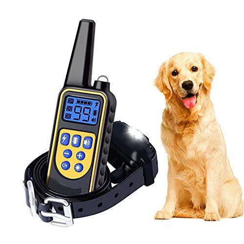 Koaiya MZ-880 Halsband Hund,Anti-Bell-Halsband, Erziehungshalsband Mit Fernbedienung Leder Halsband Breit Hundehalsband für Grosse Kleine Hunde Hunter Jagdhunde Haustiertraining