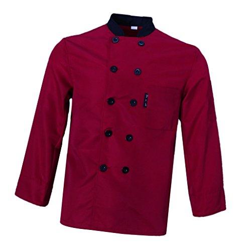 Unisex Gastro Arbeitskleidung Kochjacke Bäckerjacke mit Knöpfe Rot Schwarz Grau Arbeitskleidung Chef Koch Kochbekleidung - Rot M, wie beschrieben