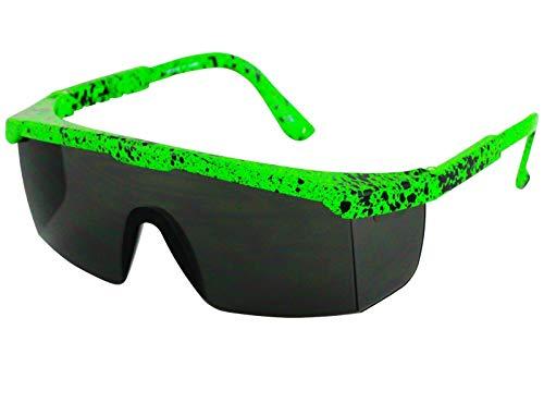 Neon Green Splatter Paint Wraparound Sunglasses for Adults