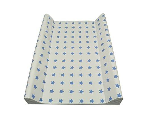 Cambiador de pañales con dos cuñas 50x70 cm o soft 75 x 85cm, estrellas, de color azul