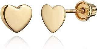 14k Yellow Gold and White Gold Heart Children Screwback Baby Girls Stud Earrings